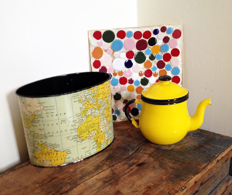 Tin Map Mail holder, Yellow enamel teapot, Mosaic tile trivet dish